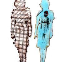 Two cut out figures  Evelyn Markasky